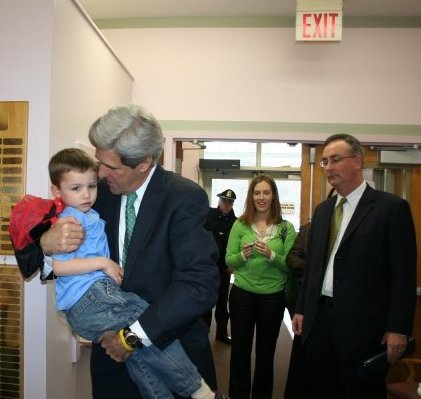 Senator Kerry giving Will a squeeze
