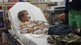 Will in the hospital after his anaphylaxis to almonds