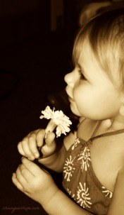 Sasha smelling flower